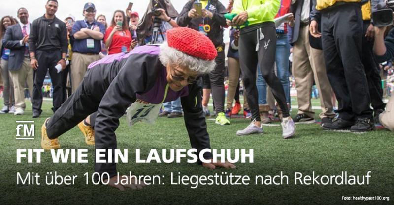 Ida Keeling macht auch mit 100 Jahren nach ihrem Weltrekord im 100-Meter-Lauf noch ein paar Liegestütze.