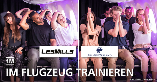 Workout an Board: LesMills und Air New Zealand stellen Workout fürs Flugzeug vor