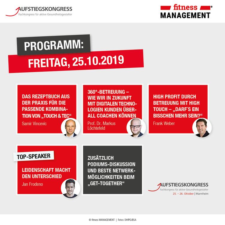 Das Programm beim Aufstiegskongress 2019 am Freitag.