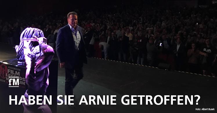 Arnold 'Arnie' Schwarzenegger aka Terminator in Berlin auf der Bühne des Theaters am Potsdamer Platz.