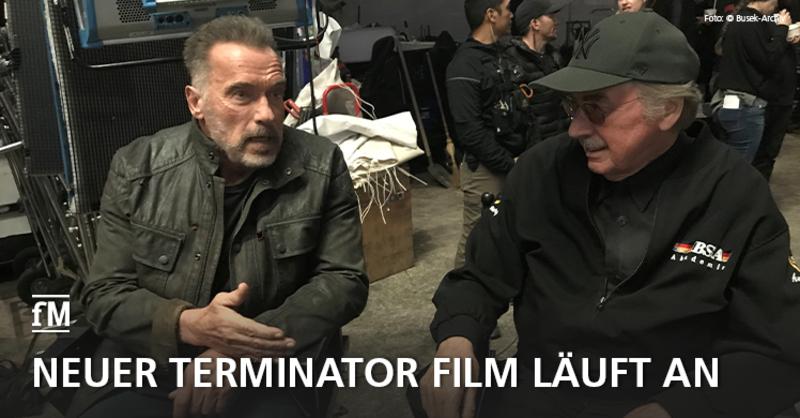 Arnold Schwarzenegger mit seinem Freund Albert Busek am Filmset von 'Terminator: Dark Fate' in Budapest.