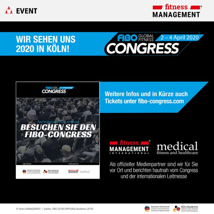 FIBO-Congress 2020: Fitnessleitmesse FIBO und Fachkongress in Köln erleben und Netzwerk ausbauen