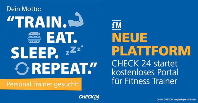Neue Plattform: Vergleichsportal CHECK24 startet kostenloses Portal für Fitness Trainer.