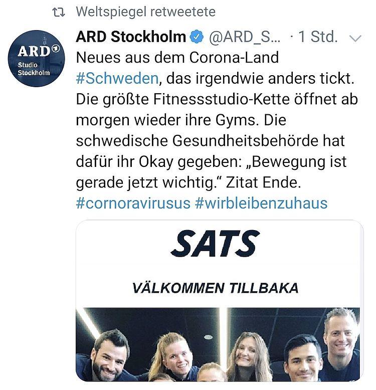 'Välkommen tillbaka' ('Willkommen zurück') – Schwedens Fitnesskette SATS eröffnet Fitnessstudios nach Corona wieder