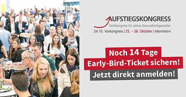 Noch 14 Tage: Der Countdown für Early-Bird-Tickets für den Aufstiegskongress 2019 läuft.