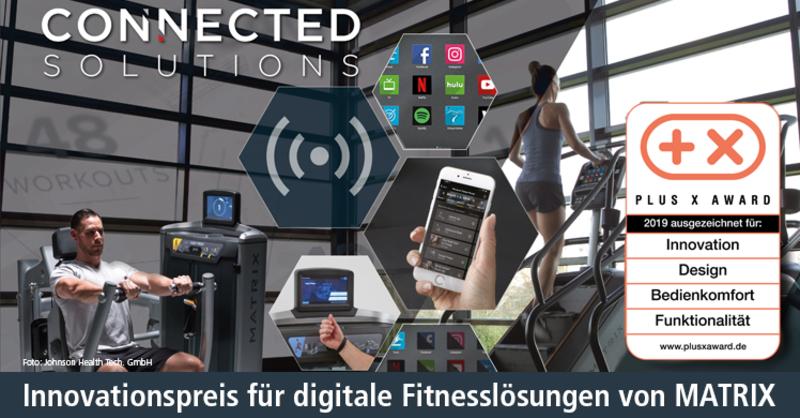 Digitale Fitnesslösungen 'Connected Solutions' von Matrix in vier Kategorien mit Innovationspreis für Technologie, Sport und Lifestyle 'Plus X Award' ausgezeichnet.