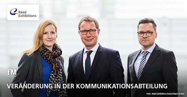 Personelle Veränderungen bei Reed Exhibitions Deutschland in der Kommunikationsabteilung (von links): Cornelia Tautenhahn, Dr. Mike Seidensticker und Christian Reiß