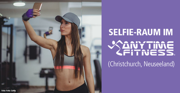 Social Fitness – Selfie-Raum im Anytime Fitness Studio in Christchurch Neuseeland