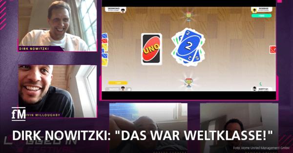 Virtuelle Partie UNO mit Basketball-Legende Dirk Nowitzki und seinen Kumpels aus Würzburger Zeiten