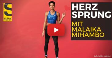 Workout-Videos mit Weitsprung-Weltmeisterin Malaika Mihambo – 'Herzsprung' lädt ein.