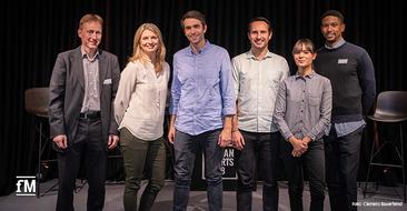 Die Teilnehmer des Panel Talks beim Housewarming des neuen Headquarters USC in Berlin.