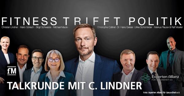 Fitness trifft Politik: Talkrunde mit FDP-Chef Christian Lindner, Ralf Moeller, DSSV-Präsidentin und Fitnessunternehmern