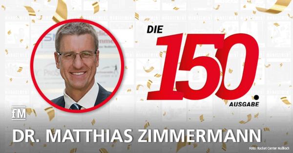 Dr. Matthias Zimmermann vom Racker Center Nußloch gratuliert zur 150. Ausgabe der fitness MANAGEMENT international (fMi)