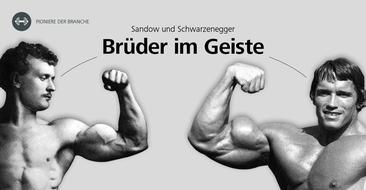 Zwei Pioniere der Fitnessbranche: Schwarzenegger und Sandow