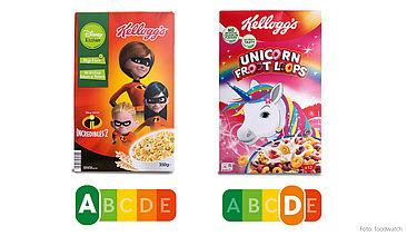 Beide Frühstücksflocken von Kellogg's werden mit bunten Bildern an Kinder beworben – doch die Inhaltsstoffe unterscheiden sich deutlich. Bei fast gleicher Kalorienanzahl enthalten die Froot Loops deutlich mehr Zucker und Salz und deutlich weniger Ballaststoffe als das mit Disney-Figuren beworbene Produkt.