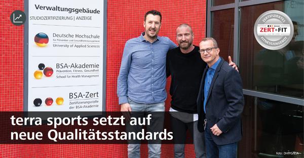 EMS-Anbieter setzt auf Zertifikat: Bis Anfang 2020 sollen alle bundesweiten terra sports Standorte durch die neutrale und unabhängige Zertifizierungsstelle BSA-Zert nach DIN-Norm 33961 zertifiziert werden.