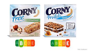 Corny Free enthält kaum gesättigte Fette und Zucker, dafür viele Proteine und Ballaststoffe – deshalb trägt er den Nutri-Score B. Corny Milch dagegen enthält mehr Zucker und Fett als eine Schoko- Sahne-Torte – der Nutri-Score entlarvt ihn auf einen Blick.