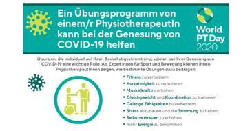 Infografik zum Welt-PT-Tag 2020: Übungsprogramm Physiotherapeut – Hilfe bei der Genesung von COVID-19
