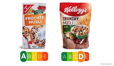 Es liegt vor allem am hohen Anteil gesättigter Fette, dass das Crunchy Müsli von Kellogg's deutlich schlechter abschneidet als das günstigere Früchte-Müsli von Edeka. Aber auch der geringere Fruchtanteil, die höhere Kalorienzahl sowie ein Mehr an Zucker und Salz schlagen negativ zu Buche.