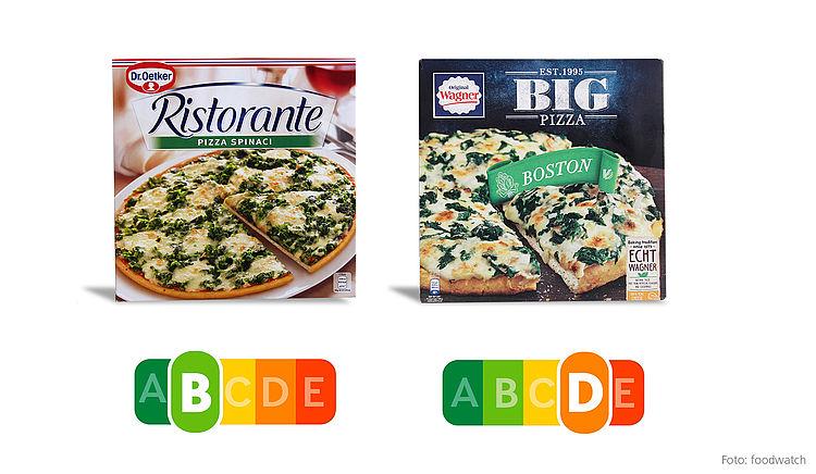 Die Ristorante Pizza von Dr. Oetker enthält weniger Fett, weniger Salz, weniger Kalorien und deutlich mehr Gemüse als die Big Pizza Boston von Wagner. Mit dem Nutri-Score lässt sich das ausgewogenere Produkt sofort erkennen.