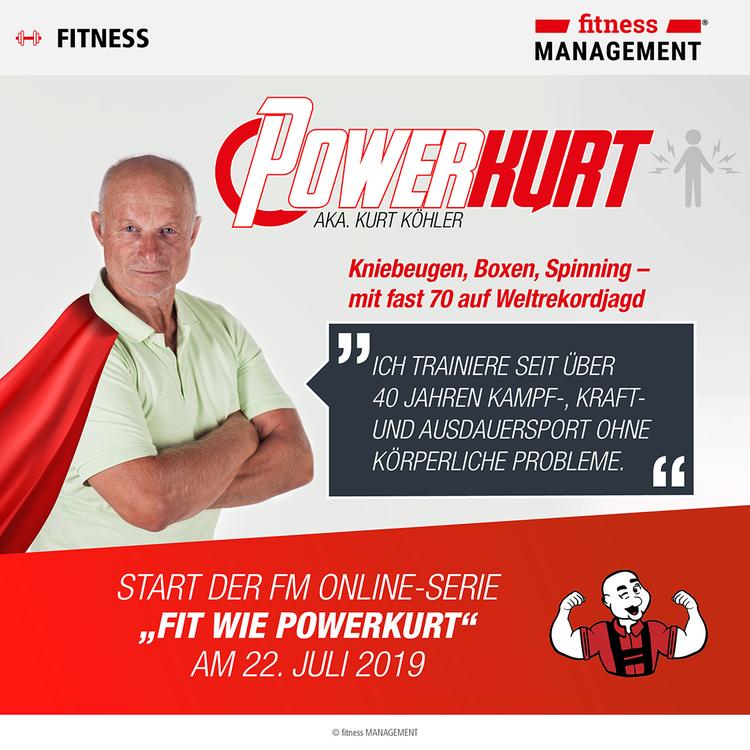 Kurt Köhler, lange als 'Eisenkurt' bekannt, heißt nun 'Powerkurt' und ist auch mit fast 70 Jahren noch auf der Jagd nach sportlichen Weltrekorden.