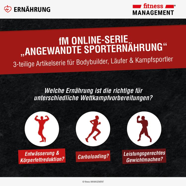 Dreiteilige Artikelserie mit sportartspezifischen Besonderheiten der Sporternährung für Bodybuilder, Marathonläufer und Kampfsportler.