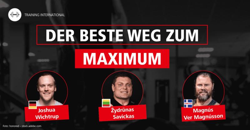 Žydrūnas Savickas (Litauen), Magnús Ver Magnússon (Island) und Joshua Wichtrup (Deutschland) im Interview – Reihe 'Muskeln, Kraft und Trainingsform – Der beste Weg zum Maximum'