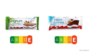 """Das Verpackungsdesign der """"Joghurt-Schnitte"""" von Ferrero lässt einen leichten Snack vermuten – der Nutri-Score zeigt, dass sie genauso wie die Milchschnitte in Wahrheit eine Zucker-Fett-Bombe ist."""