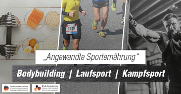 """""""Angewandte Sporternährung"""" – sportartspezifische Besonderheiten und Herausforderungen für Bodybuilder, Marathonläufer und Kampfsportler."""