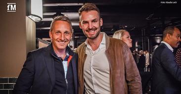Gäste der Pre-Opening Party ELBGYM Stadthöfe Hamburg: Martin Seibold (CEO der LifeFit Group, links) und Janosch Marx (Geschäftsführer fitness MANAGEMENT).