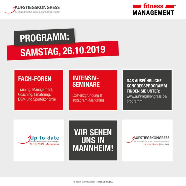 Das Programm beim Aufstiegskongress 2019 am Samstag.