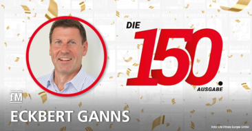 Eckbert Ganns, Geschäftsführer Life Fitness Europe GmbH, gratuliert der fMi zur 150. Ausgabe