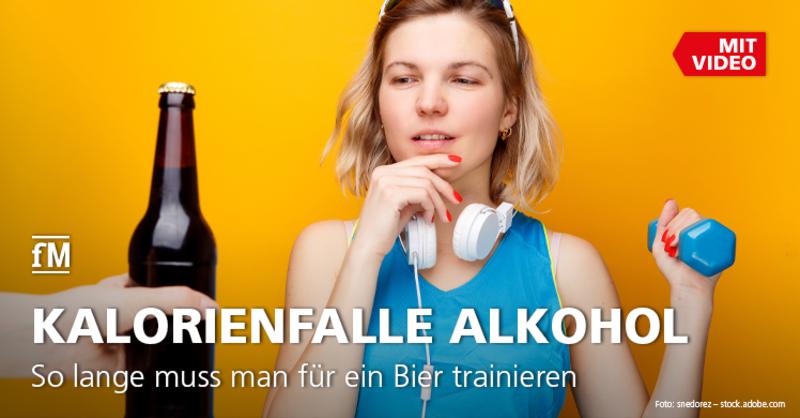 Kalorienfalle alkoholische Getränke: Mit der Kalorientabelle Alkohol erfahren, wie lange man für ein Bier trainieren muss.