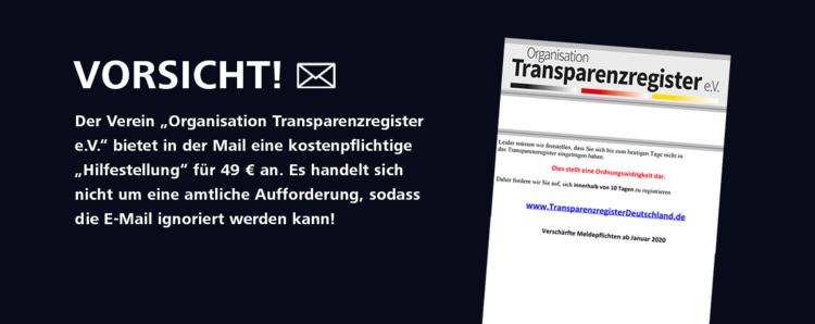 Auch der DSSV warnt auf seiner Homepage vor den gefälschten E-Mails des 'Transparenzregister e.V.'