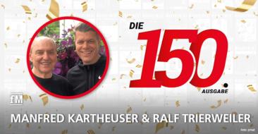 Manfred Kartheuser und Ralf Trierweiler von den juka dojo Fitness Clubs gratulieren zur 150. Ausgabe der fitness MANAGEMENT international (fMi)
