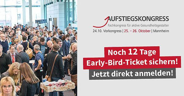 Noch 12 Tage: Der Countdown für Early-Bird-Tickets für den Aufstiegskongress 2019 läuft.
