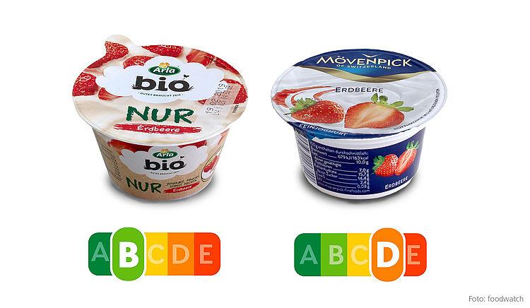 Der Nutri-Score zeigt auf einen Blick, welcher Joghurt die gesündere Wahl ist.