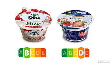 Der Mövenpick Erdbeere Feinjoghurt enthält doppelt so viel Zucker, doppelt so viele Kalorien und vier Mal so viel gesättigte Fette wie der Arla Erdbeerjoghurt. Der Nutri-Score zeigt auf einen Blick, welcher Joghurt die gesündere Wahl ist.