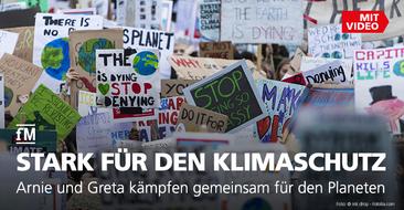 Stark für den Klimaschutz: Arnie und Greta kämpfen gemeinsam für den Planeten