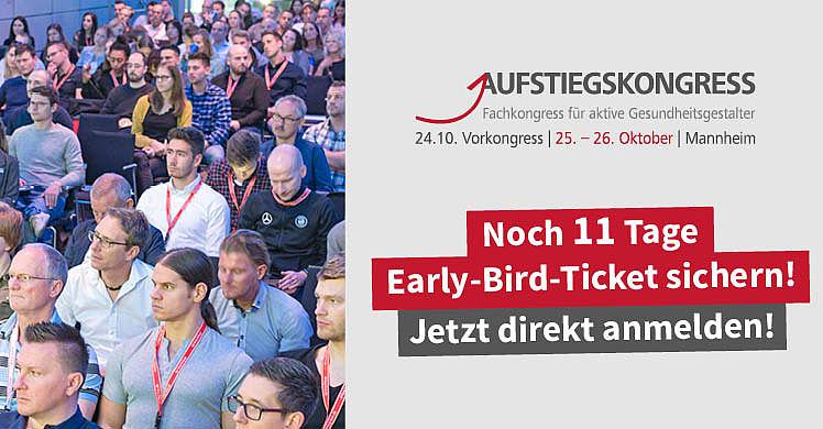 Noch 11 Tage: Der Countdown für Early-Bird-Tickets für den Aufstiegskongress 2019 läuft.