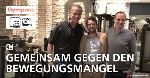 Gympass und PRIME TIME fitness kooperieren: Henrik Gockel, Nikolaus Moschkorz und Ralf Aigner freuen sich über die neue Partnerschaft.