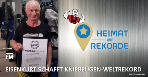 Eisenkurt (bürgerlich: Kurt Köhler) stellt in der Fernsehsendung 'Heimat der Rekorde' einen neuen Weltrekord im Kniebeugen auf