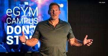 Beim Launch-Event für den eGym Campus in der Münchner eGym Zentrale hielt der deutsch-amerikanische Schauspieler Ralf Moeller die Keynote.