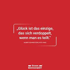 Zitat des Tages: 'Glück ist das einzige, das sich verdoppelt, wenn man es teilt.' – Albert Schweitzer (1875-1965)