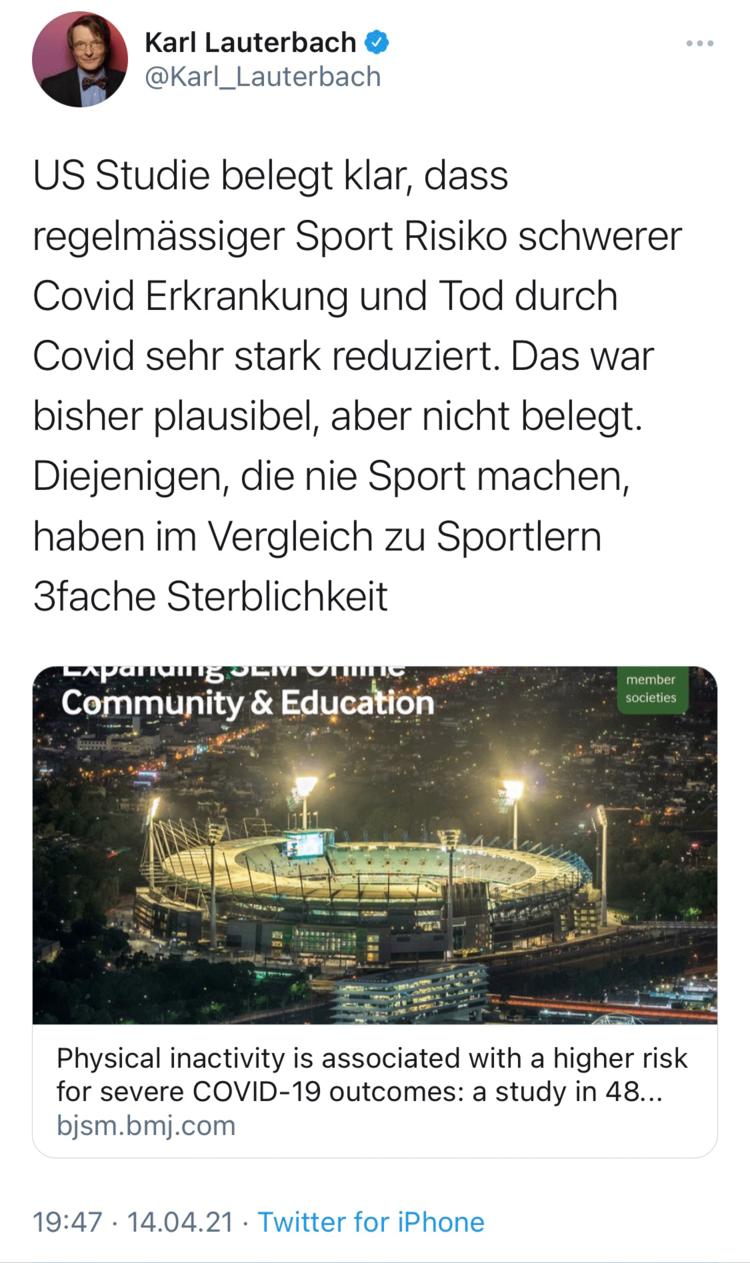 Karl Lauterbach warnt auf Twitter: regelmässiger Sport senkt Risiko schwerer COVID-19-Erkrankungen und Tod. Er nimmt dabei Bezug auf eine aktuelle US-Studie.