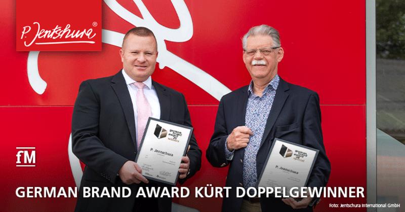 Zwei 'German Brand Awards' für P. Jentschura: Unternehmensgründer Dr. h. c. Peter Jentschura und Marketingleiter Guyves Sarkhosh (l.) freuen sich über den 'German Brand Award 2020', mit dem die Marke P. Jentschura zweimal ausgezeichnet wurde