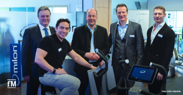 Gruppenbild auf der milon Hausmesse 2020 (von links): Michael Müller (Bürgermeister Emersacker), Wolf Harwath, Martin Sailer (Landrat Landkreis Augsburg), milon CEO Bernd Reichle und Andreas Kreil (Vertriebsleitung milon)