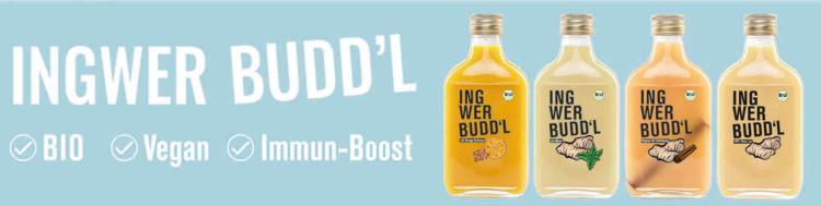 Ingwer Budd'l: Gesunde Bio Ingwershots als Immun-Boost, 10% Rabatt-Code | 100% BIO | Vegan | Bis zu 50 Ingwershots in einer Flasche | Natürliche Inhaltsstoffe | Kein zugesetzter Zucker | Ordentlich scharf Sie ist in vier Variationen erhältlich: Ingwer-Apfel-Zimt, Ingwer-Orange-Kurkuma, Ingwer-Minze und Ingwer-Natur