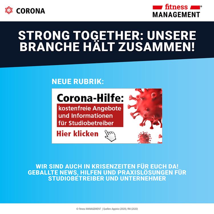 fitness MANAGEMENT Corona-Hilfe für Studiobetreiber