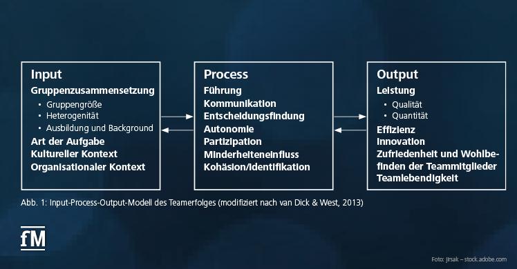 Abb. 1: Input-Process-Output-Modell des Teamerfolges (modifiziert nach van Dick & West, 2013)